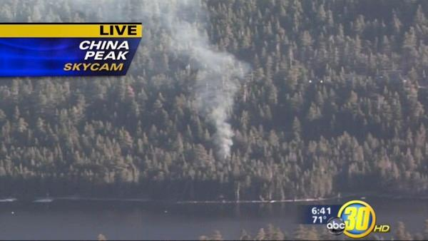 View of the fire from the ABC30 China Peak Sky Cam