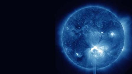 false-color image provided by NASA shows a solar flare