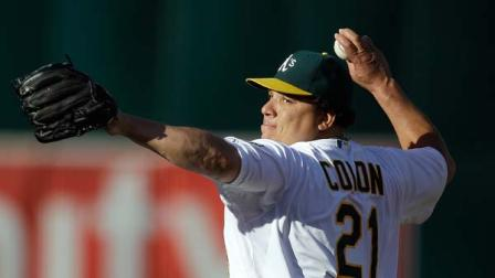 Oakland Athletics Bartolo Colon works against the Cleveland Indians in the first inning of a baseball game Saturday, Aug. 18, 2012, in Oakland, Calif.