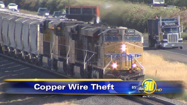 Union Pacific Railroad damaged by copper wire thieves
