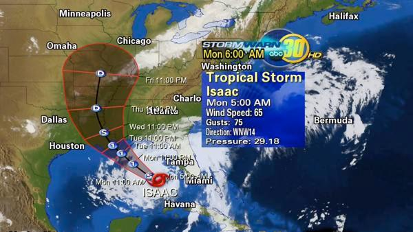 Tropical Storm Isaac may become hurricane before landfall