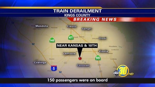 The Amtrak train was traveling south and hit a truck on Kansas Avenue in Hanford