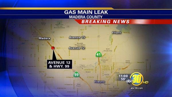 99 closed south of Madera due to gas main rupture
