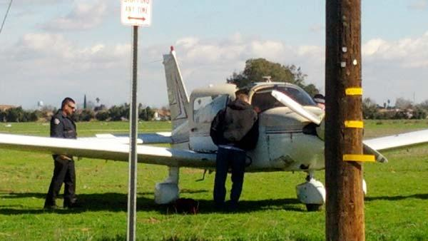 The small plane after an emergency landing in Southwest Fresno.
