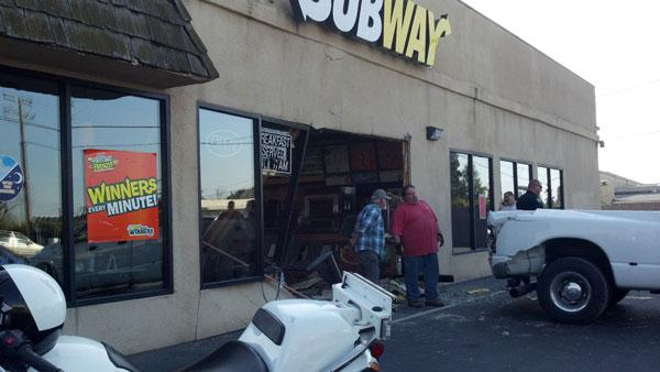 According to Hanford PD, a pick-up truck crashed in reverse into people waiting in line for a sandwich at Subway at 1:25 p.m.