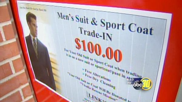 Donate old suit in Visalia get $100 off new suit