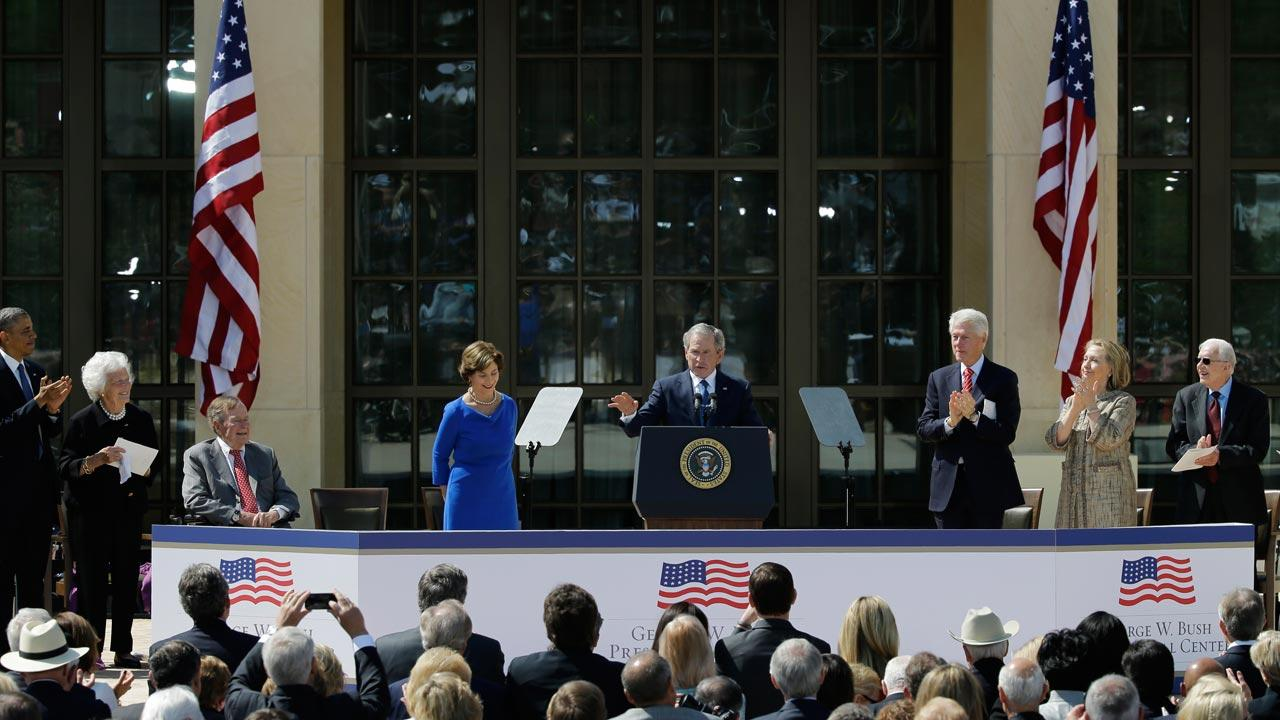 President Barack Obama, former first lady Barbara Bush, President George H.W. Bush, former first lady Laura Bush, former president William J. Clinton, former first lady Hillary Clinton and former president Jimmy Carter