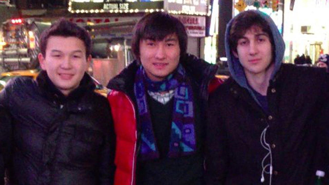 Azamat Tazhayakov and Dias Kadyrbayev, from Kazakhstan, with Boston Marathon bombing suspect Dzhokhar Tsarnaev in Times Square in New York