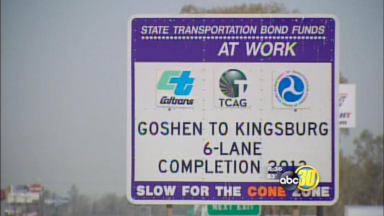 Highway 99 road construction in Goshen