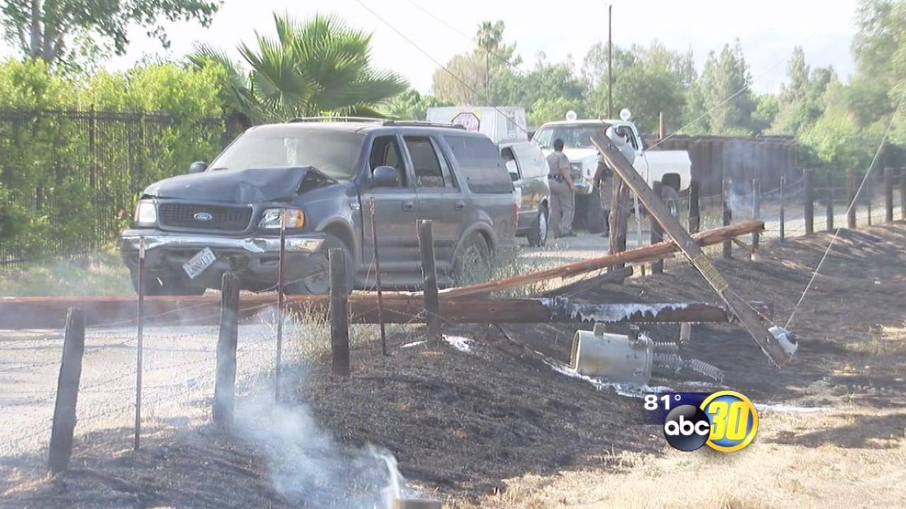 Fight ends in car crash and fire in Fresno County