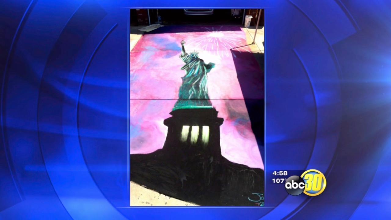 Lady Liberty chalk art on South Valley sidewalk