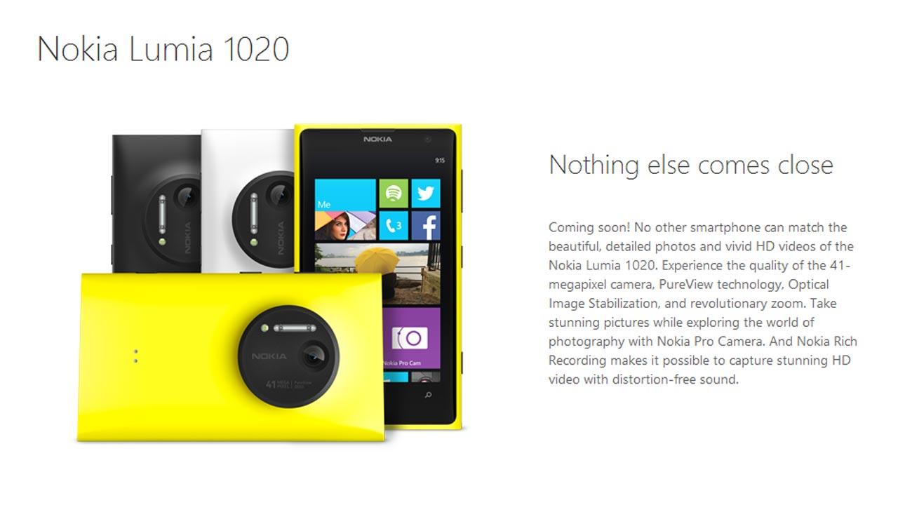This screenshot, taken from WindowsPhone.com, show the Nokia Lumia 1020 with a 41-megapixel camera. The phone will be available on July 26 with 2-year agreement with AT&T.