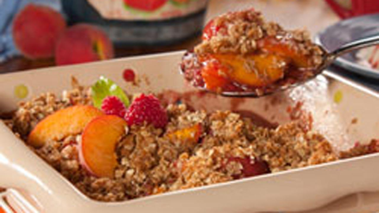 Peach Melba Crumble