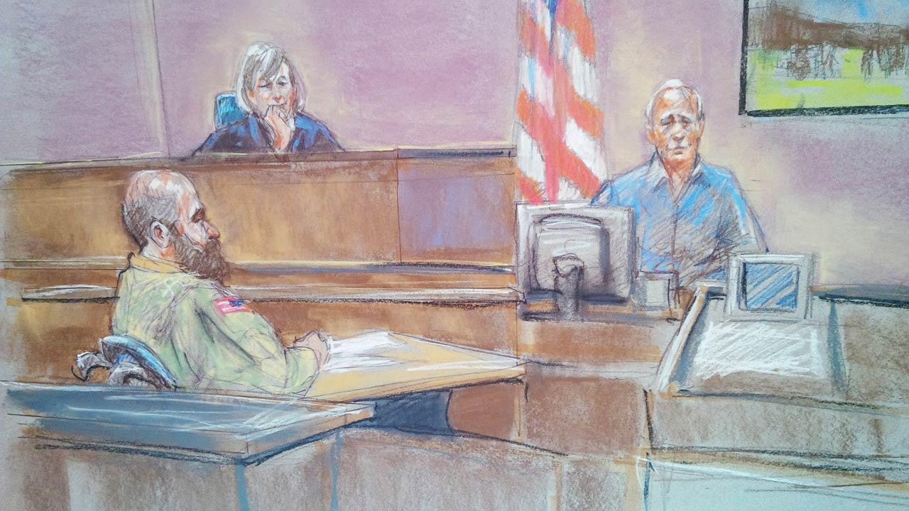 In this courtroom sketch defense witness Stephen Bennett, right, testifies as Maj. Nidal Malik Hasan, left, and presiding judge Col. Tara Osborn look on in court during Hasans court-martial in Fort Hood, Texas on Tuesday, Aug. 20, 2013.