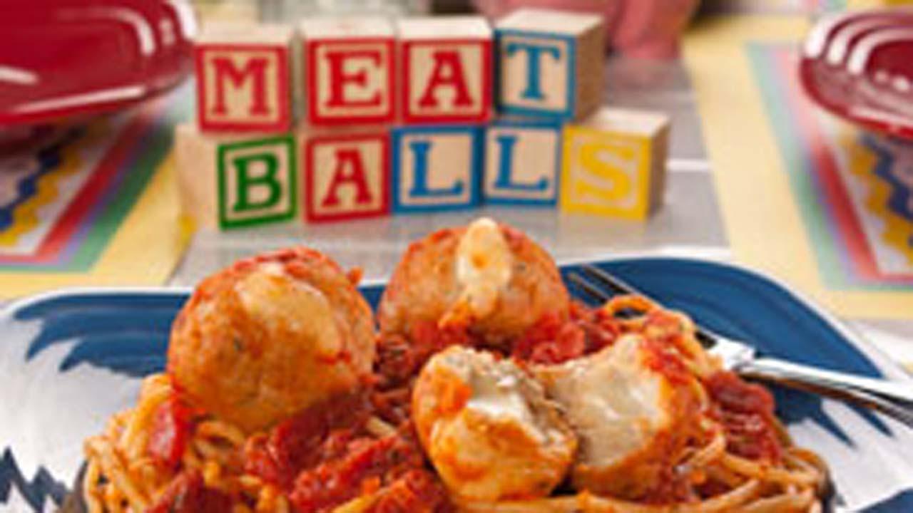 Cheese-Stuffed Meatballs and Spaghetti
