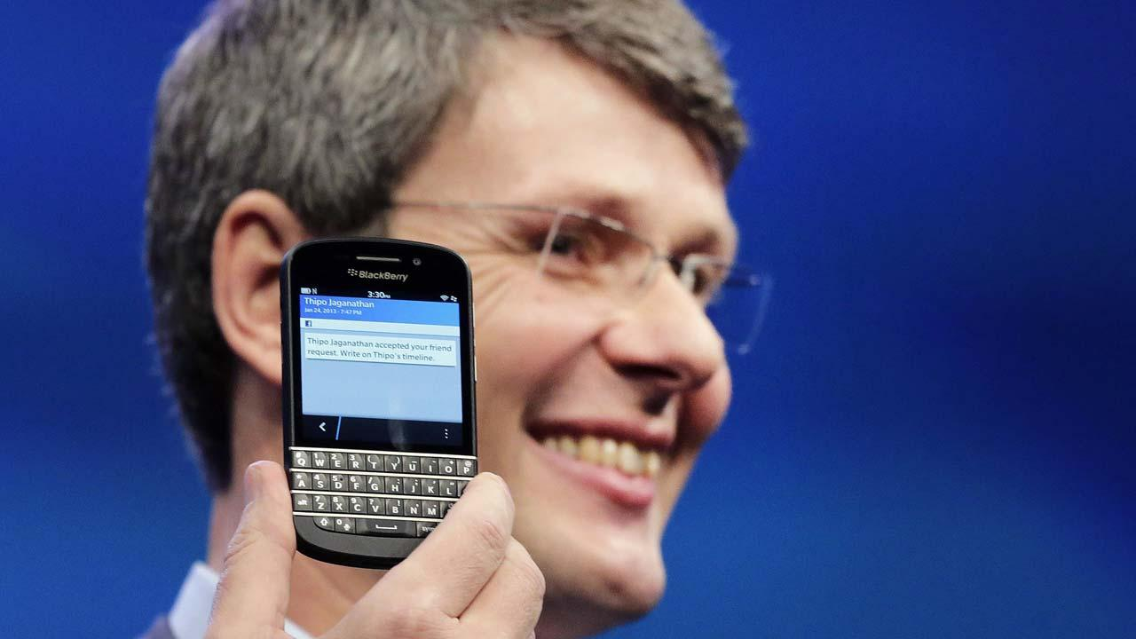 FILE - In this Wednesday, Jan. 30, 2013,file photo, Thorsten Heins, CEO of Research in Motion, introduces the BlackBerry Z10, in New York.