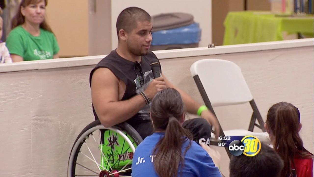 "Wheelchair stuntman ""Wheelz"" visits Break the Barriers"