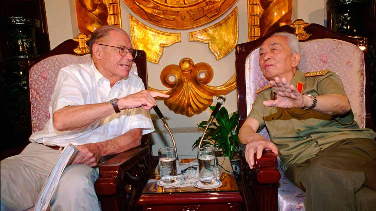 In this Monday, June 23, 1997, file photo, former U.S. Defense Secretary Robert McNamara, left, speaks to his onetime foe Gen. Vo Nguyen Giap in Hanoi, Vietnam. Officials say Giap, the military mastermind who drove the French and the Americans out of Vietnam, died at a Hanoi hospital Friday, Oct. 4, 2013, at age 102. He was the countrys last famous communist revolutionary, and used ingenious guerrilla tactics to overcome enormous odds against superior forces. (AP Photo/Tri Hieu, File)