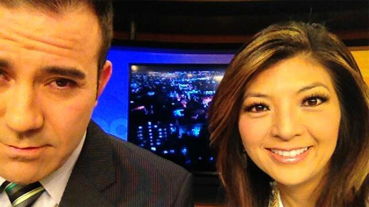 Action News AM Live anchors Jason Oliveira and Margot Kim take a selfie in the ABC30 studio