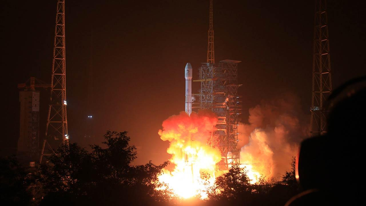 Long March 3B rocket carrying the Change-3 lunar probe blasts off from the launch pad at Xichang Satellite Launch Center