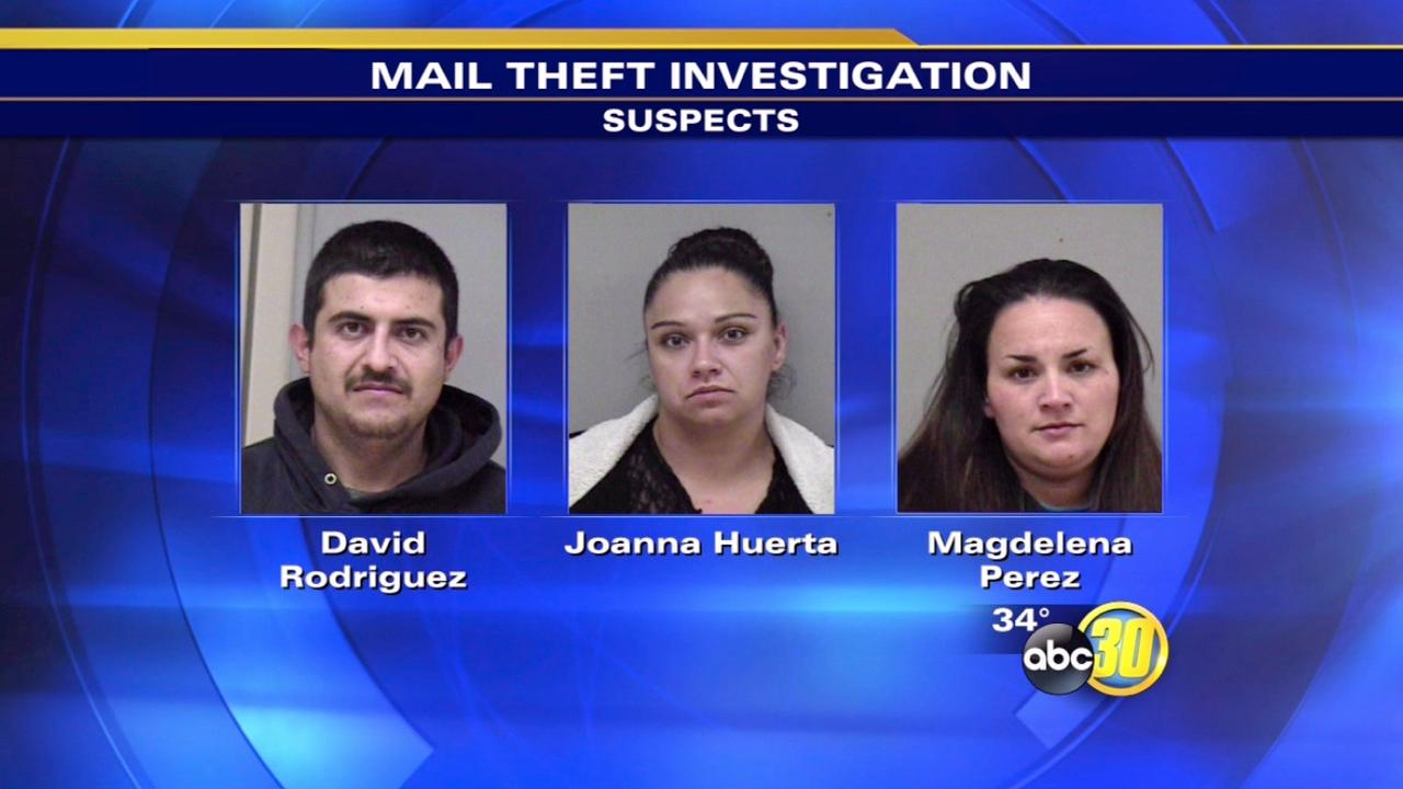 3 arrested for mail theft in Madera
