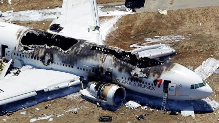 This aerial photo shows the wreckage of the Asiana Flight 214 airplane after it crashed at the San Francisco International Airport in San Francisco, Saturday, July 6, 2013.