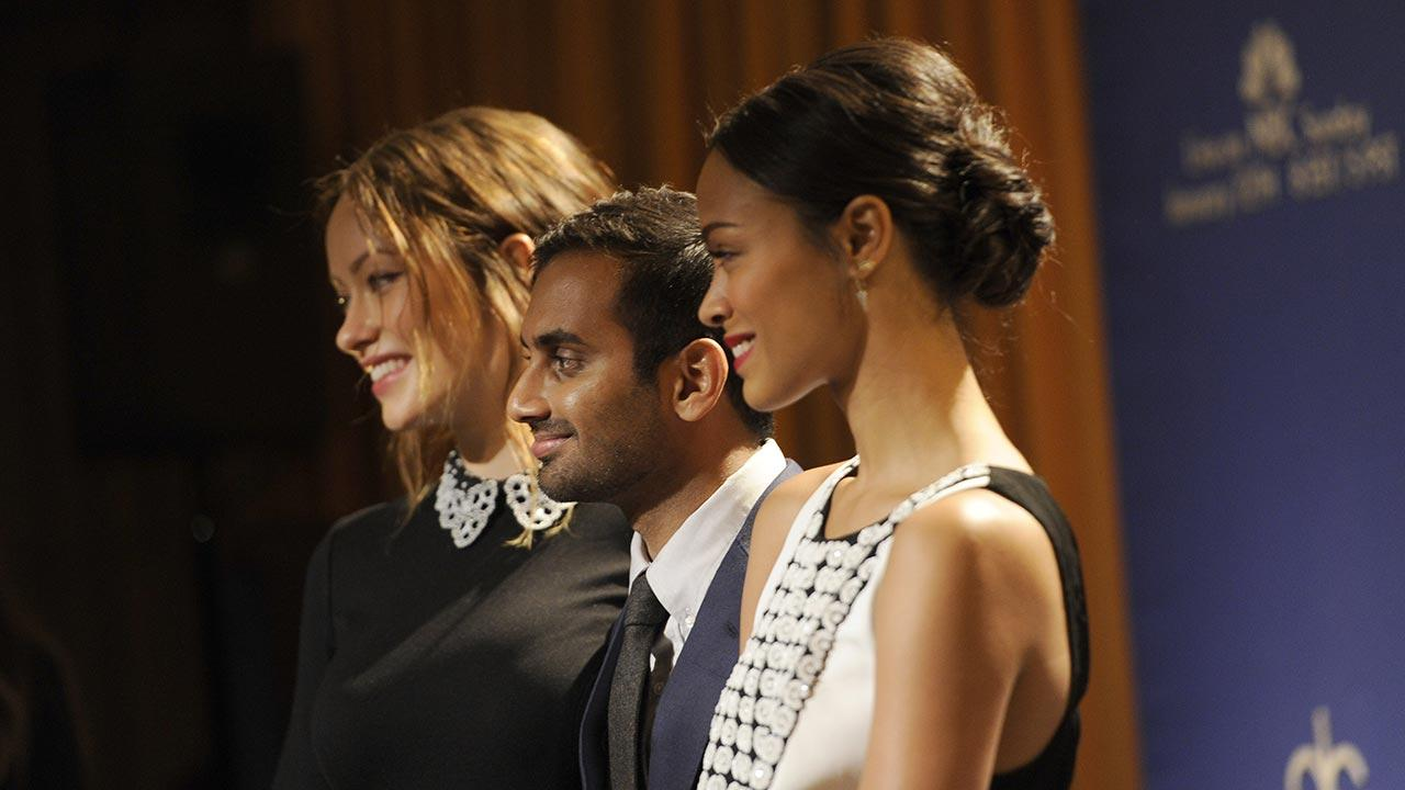 Olivia Wilde, Aziz Ansari and Zoe Saldana pose after the nominations for the 71st Annual Golden Globe Awards