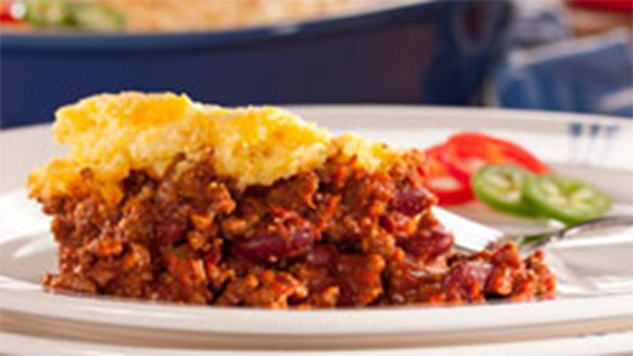 Cheesy Cornbread and Chili Bake recipe