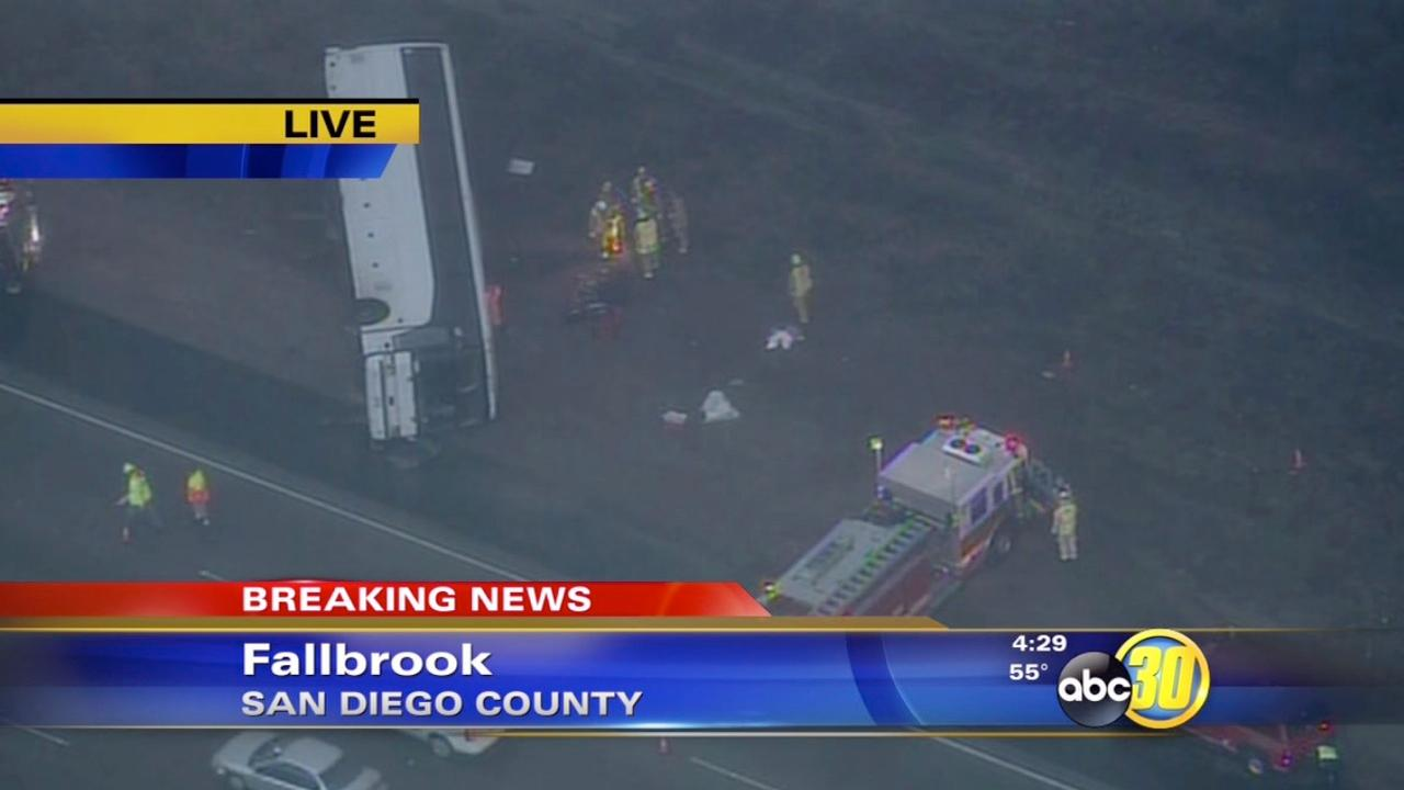 Southern California tour bus crash injures 22, kills 1