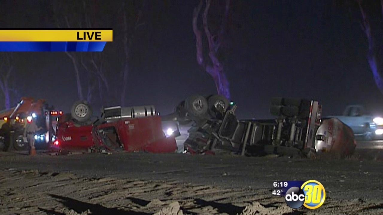 Overturned tanker truck on SB 99 North of Betty Drive near Traver