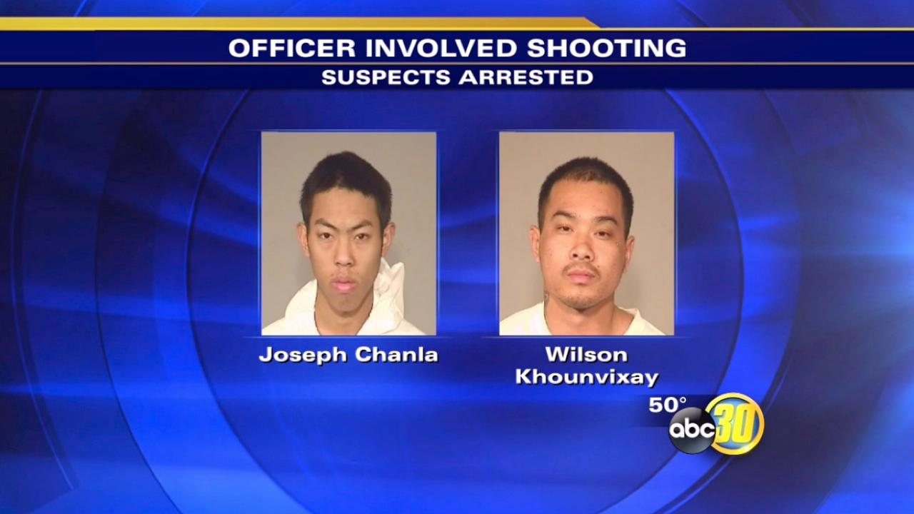 Two men arrested for shooting at Fresno police officers