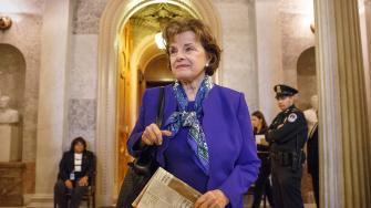 Sen. Dianne Feinstein, D-Calif., chair of the Senate Intelligence Committee, leaves the chamber just after saying that the CIAs improper search of a stand-alone computer network established for Congress has been referred to the Justice Department