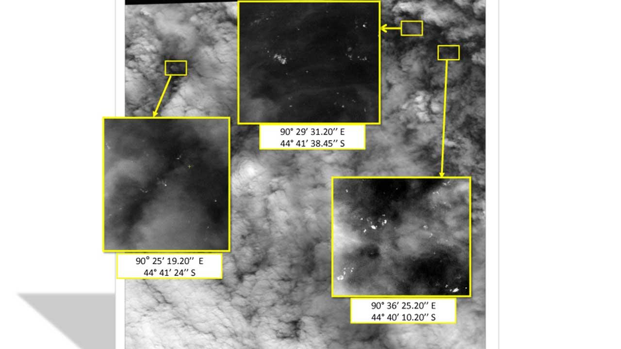This graphic released by the Malaysian Remote Sensing Agency on Wednesday March 26, 2014, shows satellite imagery taken on March 23, 2014