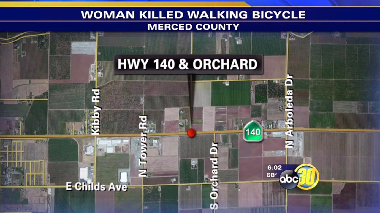 Woman walking bike hit, killed by truck in Merced Co.