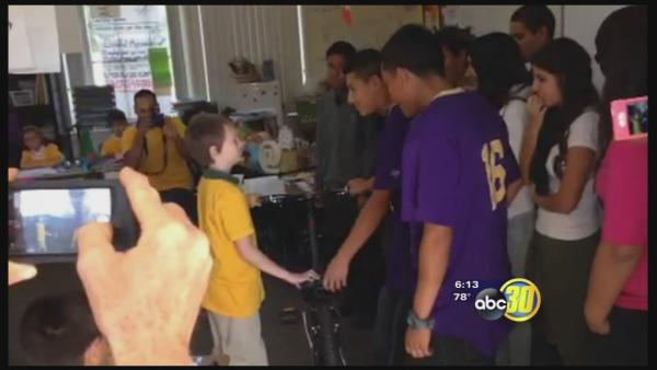 Fresno High students replace boy's bike that was stolen twice