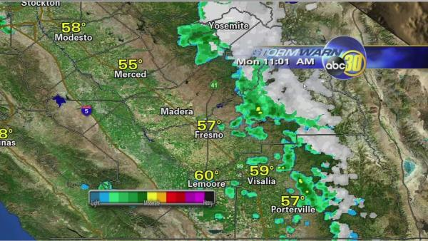 Rain and snow moves in to Central California