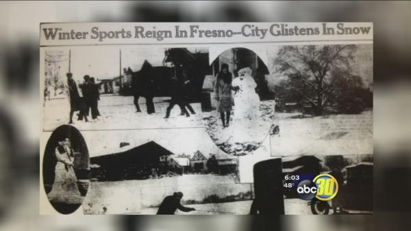 History of snow in Fresno