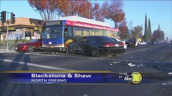 3 cars and FAX bus involved in crash