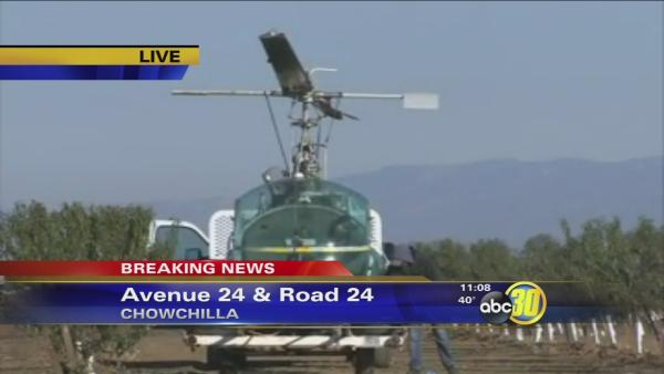 Helicopter crashes near Chowchilla while warming citrus grove