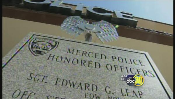 Memorial in place for fallen Merced police officers