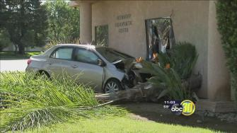 Car crash knocks doctors office off its foundation