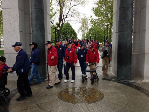 WWII Veterans on their final mission to Washington D.C. The 68 veterans are members of the second Central Valley Honor Flight. They toured several military monuments in our nation&#39;s capitol, including the World War II Memorial -- and all expenses were paid by donations. <span class=meta>(KFSN Photo)</span>