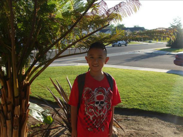 "<div class=""meta ""><span class=""caption-text "">Matthew's first day of 2013 school year (KFSN Photo/ uReport)</span></div>"