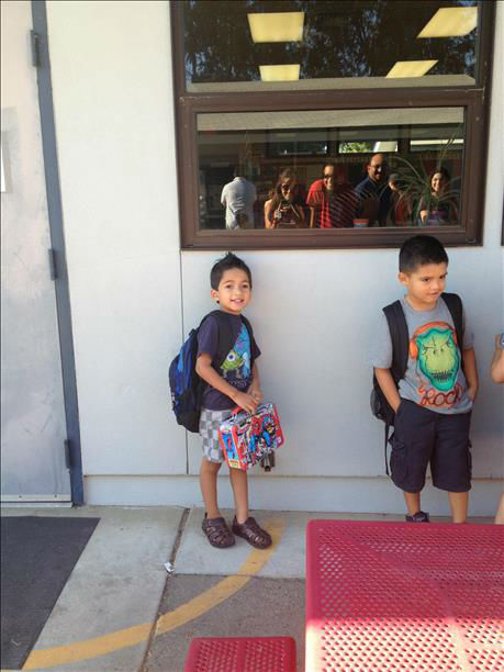 "<div class=""meta ""><span class=""caption-text "">Nathaniel at his first & second day of kindergarten.  (KFSN Photo/ uReport / Angela)</span></div>"