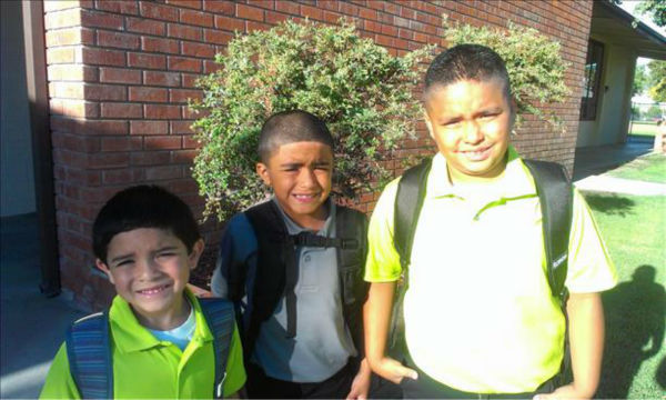 This is Christopher, Nicholas and Matthew, first day in Lemoore. 5th grade, 3rd grade and kinder. <span class=meta>(KFSN Photo&#47; uReport)</span>