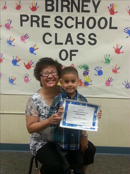 Azarel with his preschool teacher Mrs. Starbour... Birney Elementary Fresno, Ca <span class=meta>(KFSN Photo&#47; uReport)</span>