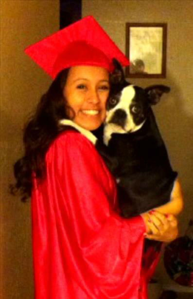 San Joaquin Memorial class of 2013 -- Selena Carbajal and her Boston Terrier &#34;Pepper&#34;. We are so proud of you Selena! Love, Mom Monica, Sis Melinda and niece Lilliana <span class=meta>(KFSN Photo&#47; uReport)</span>