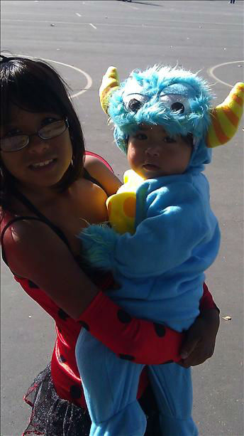 Little monster and lady bug