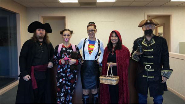 "<div class=""meta ""><span class=""caption-text "">Captain Morgan, Big Baby, Clark Kent, Little Red Riding Hood, and a Pirate! Happy Halloween from Howe Electric!! (KFSN Photo/ uReport)</span></div>"