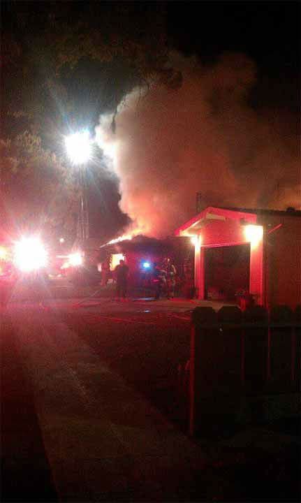 The flames ignited at the house on San Bruno near First and Shaw in Northeast Fresno. <span class=meta>(Kailey Valadoa - Facebook)</span>